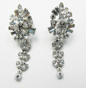 Vintage 1950s Mid Century Glamour Rhinestone Drop Earrings