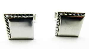 Vintage 1960s Men's Costume Jewelry Engraved Silver Cufflinks - Front