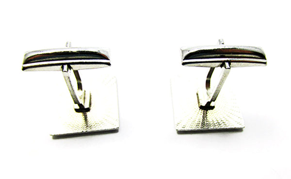 Vintage 1960s Men's Costume Jewelry Engraved Silver Cufflinks - Back