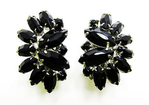 Weiss 1950s Designer Vintage Jewelry Onyx Diamante Floral Earrings - Front