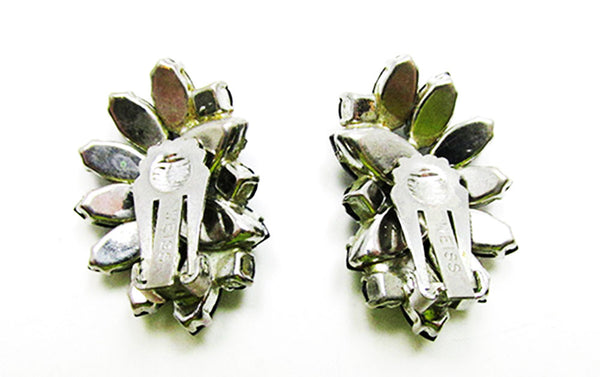 Weiss 1950s Designer Vintage Jewelry Onyx Diamante Floral Earrings - Back