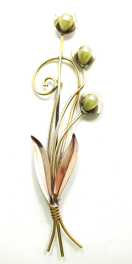 Van Dell Vintage Gorgeous 1940s Retro Gold Filled Floral Spray Pin