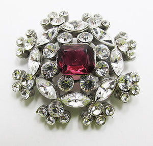 Coro Vintage Dazzling 1950s Ruby Red and Clear Rhinestone Pin