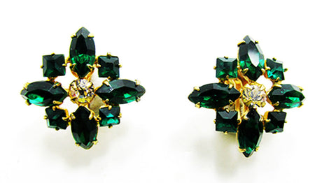 1950s Vintage Jewelry Eye-Catching Emerald Diamante Floral Earrings - Front