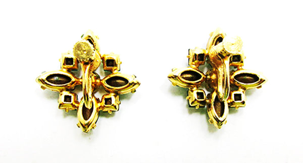 1950s Vintage Jewelry Eye-Catching Emerald Diamante Floral Earrings - Back