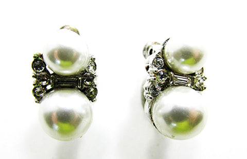 Vendome 1960s Vintage Contemporary Style Diamante and Pearl Earrings - Front