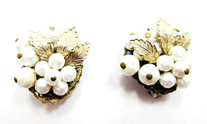 Stylish Vintage 1950s Mid-Century Unique Baroque Pearl Floral Earrings