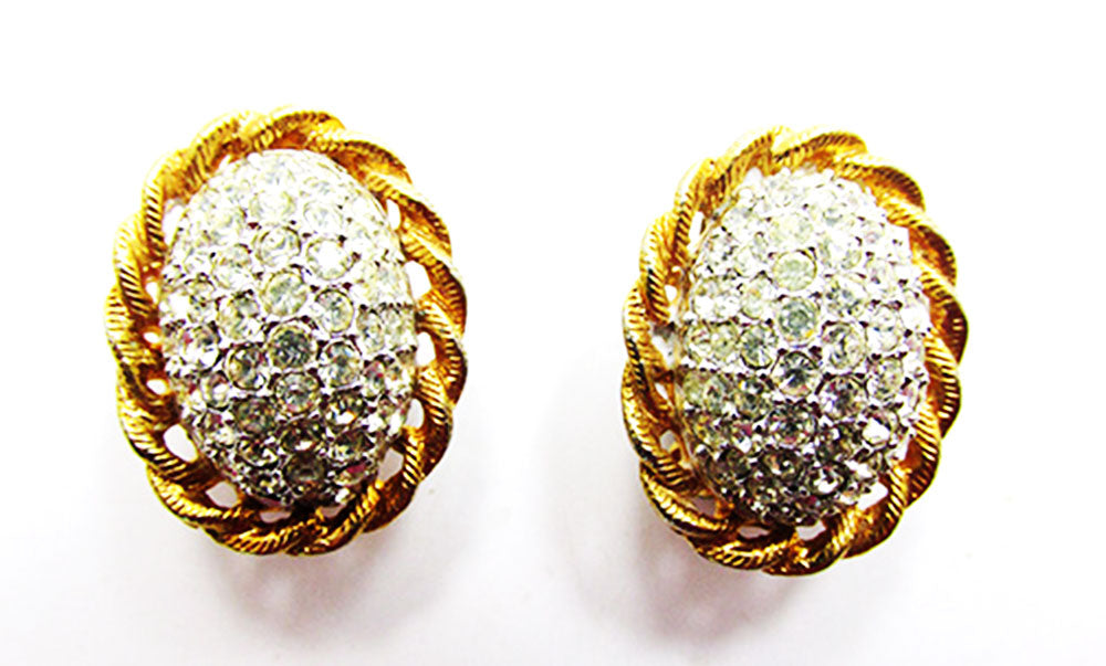 Kenneth J Lane 1960s Vintage Designer Jewelry Superb Diamante Earrings - Front