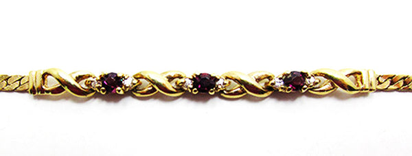Vintage 1980s Retro Elegant Ruby Red Contemporary Style Bracelet