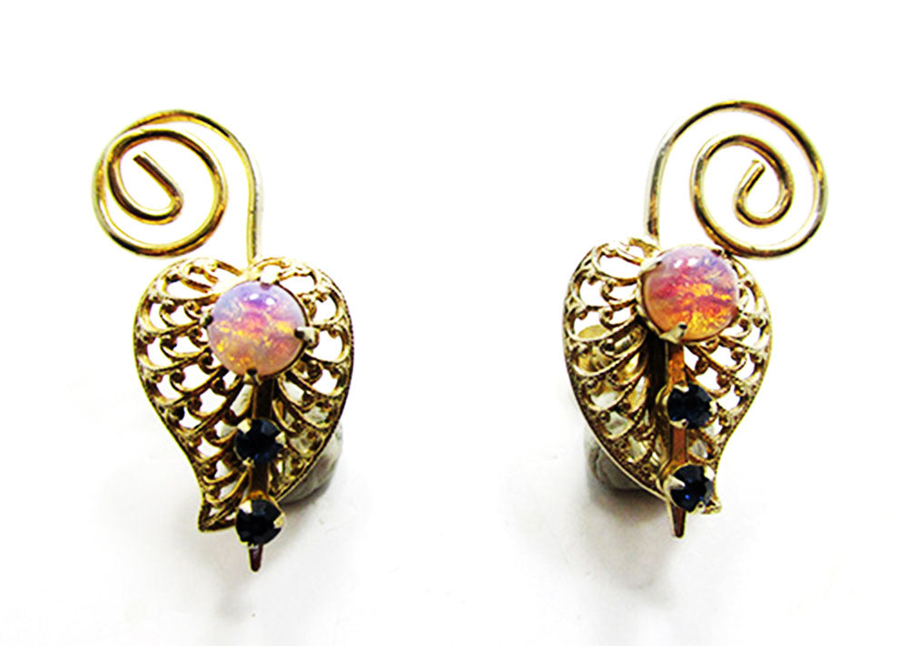 Vintage 1950s Dazzling Mid-Century Opal Cabochon Leaf Earrings
