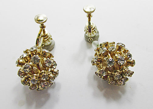 Vintage 1950s Mid-Century Flawless Rhinestone and Pearl Drop Earrings