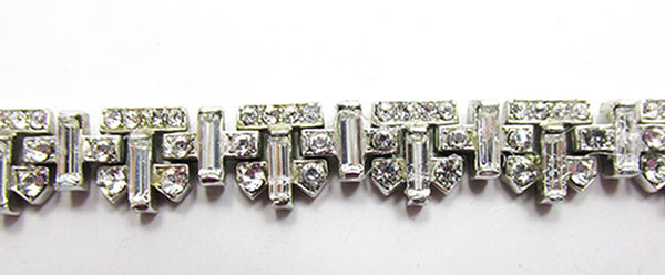 Crown Trifari Vintage Jewelry 1950s Mid-Century Diamante Bracelet - Close Up