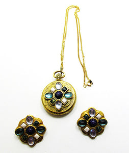 Vintage Costume Jewelry 1980s Diamante Pendant and Earrings Set - Front