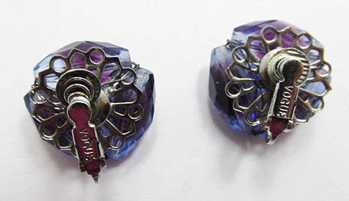 Vogue Vintage Mid-Century Distinctive Purple Bead Button Earrings