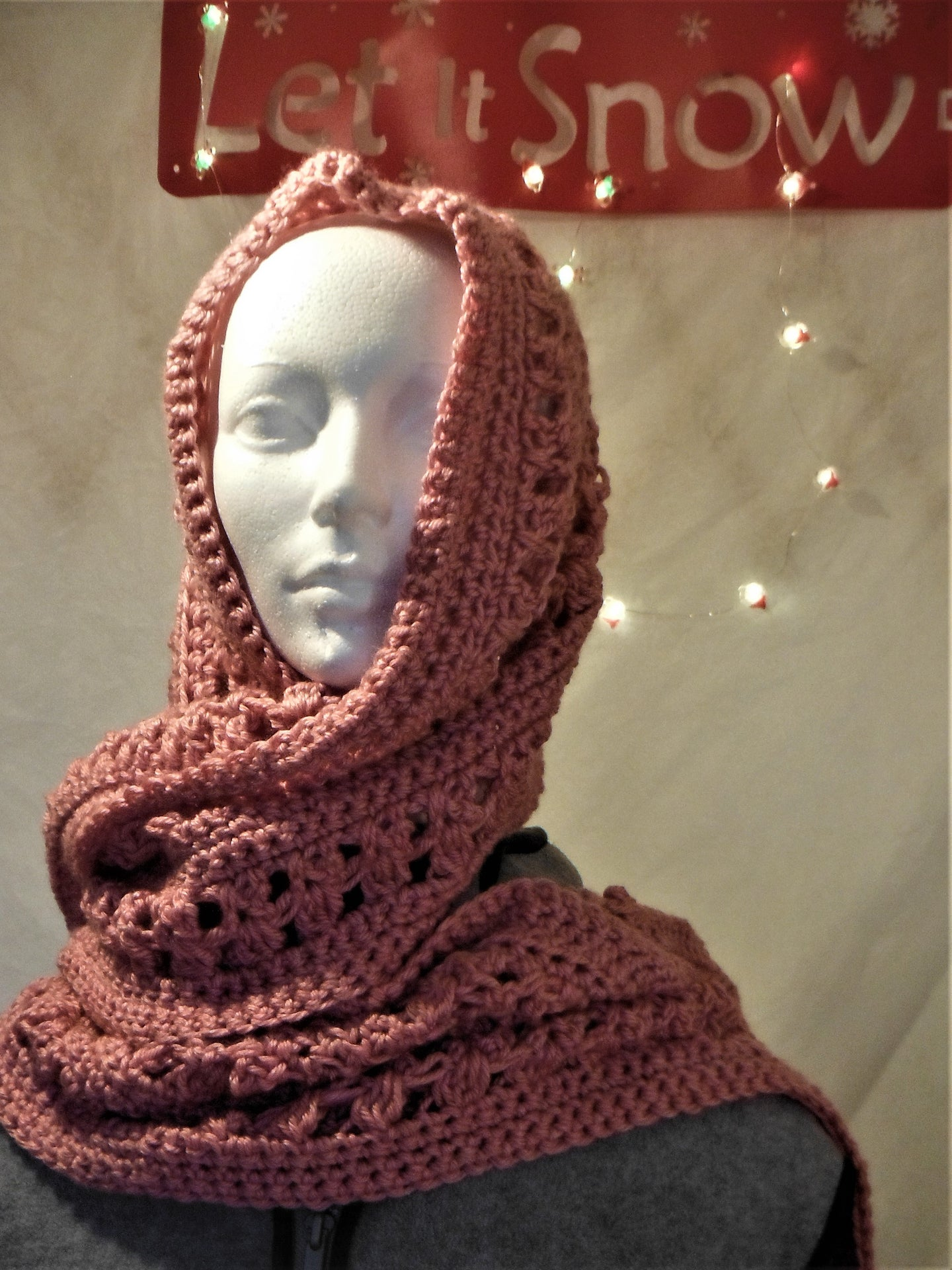Rose long scarf or wrap with shawl pin