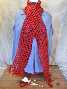 RED SHIMMERING SCARF