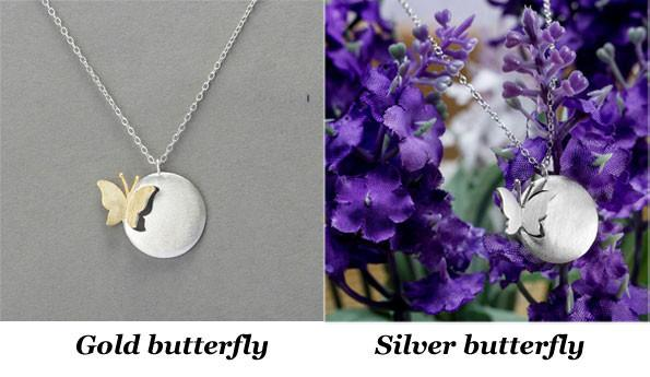 Retro Butterfly Pendant Necklace/Silver Jewelry - lilyby