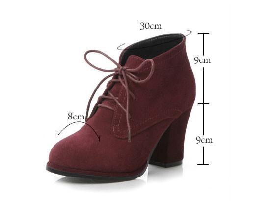 String Nubuck Leather Thick High Heel Ankle Boots For Big Sale!- Fowish.com
