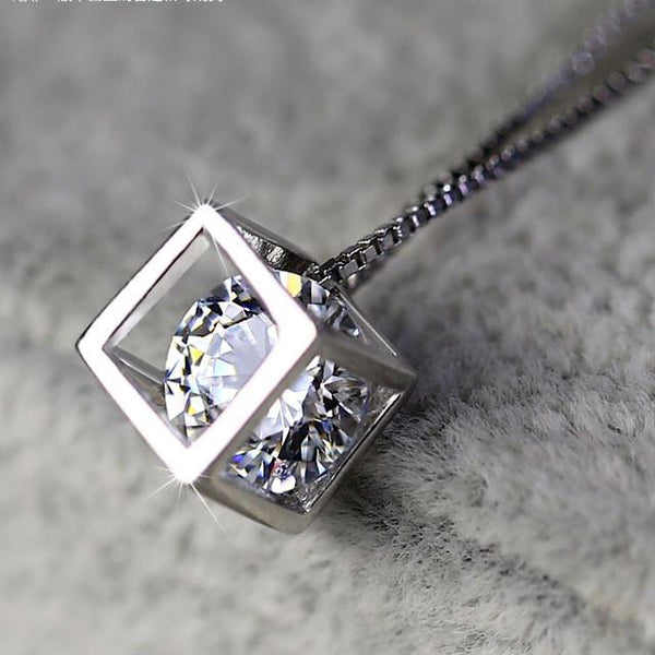 Sterling Silver Square Crystal Necklace For Big Sale!- Fowish.com