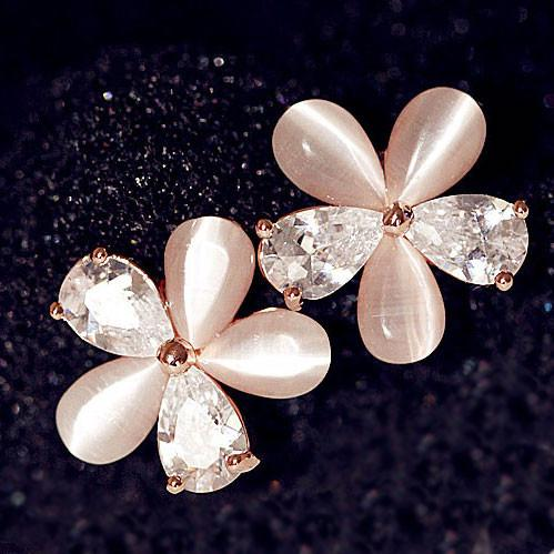 Pretty Opal Zircon Floral Stud Earrings - lilyby