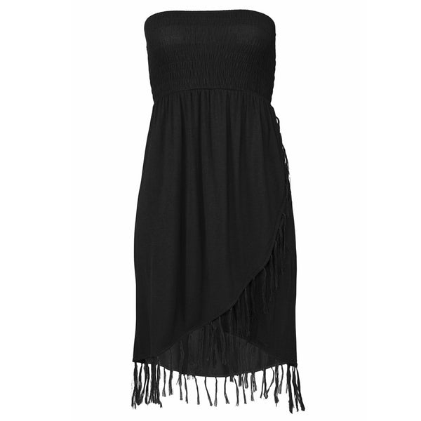 Sexy Knitted Slim Breast Wrap Strapless Tassel Summer Black Dress