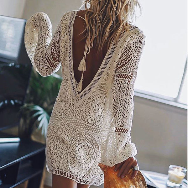 Fashion Loose Hollow Lace Deep V Summer Long Sleeve Backless Beach Dress