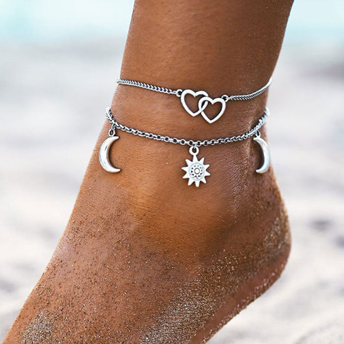 Casual Sun Love Heart Moon Simple Beach Alloy Chain Two Layer Women's Anklet