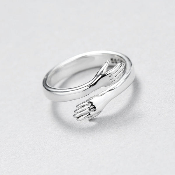 Romantic Creative Lover Hug Couple Embrace Valentine's Day Present  Silver Open Ring