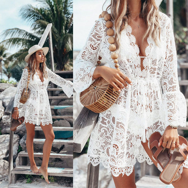 Fashion Beach Hollow Dress Lace Long Sleeve Sunscreen Summer Dress Skirt