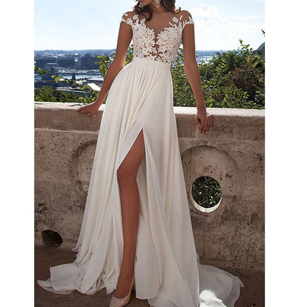 Sexy Mesh Perspective Prom Long Bridesmaid Dress  Lace Split Evening Dress