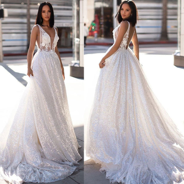 Sexy  Mesh Bra Long Dress Sleeveless Party Bridesmaid Dress White Flower Lace Prom Dress