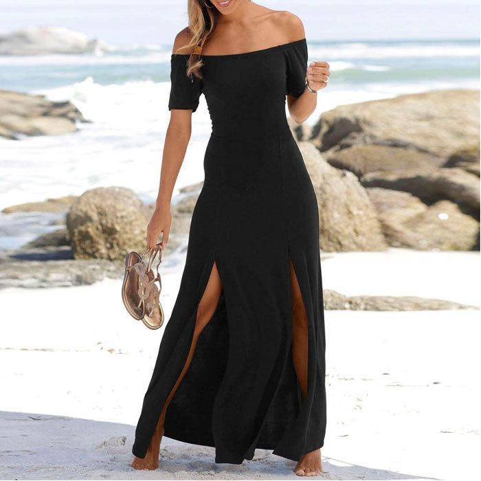 Elegant Black Short Sleeve Split Strapless Long Party Dress