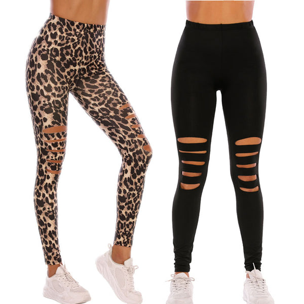 Sexy Black Leopard Print Tight Knee Hole Leggings High waist Elasticity Teen Leggings Yoga Pants