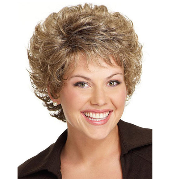 Fashion Brown Short Diagonal Bangs Curly Hair Mature Lady Lace Hair Wigs