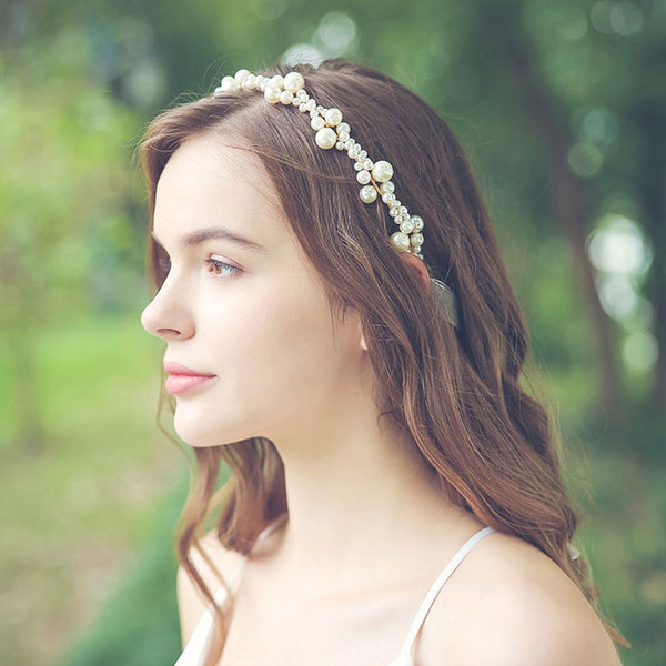 Sweet Handmade Bridesmaid Pearl Headband Bride Hair Accessories