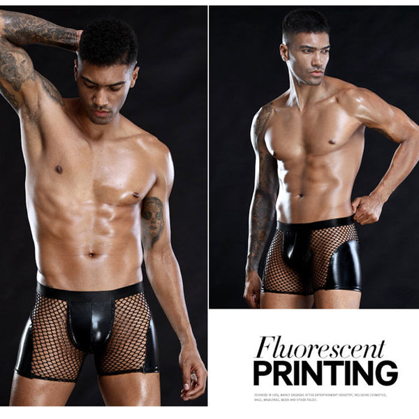 Sexy Panties For Man Black Mesh Stitching Pants Imitation Patent Leather Underwear Men's Lingerie