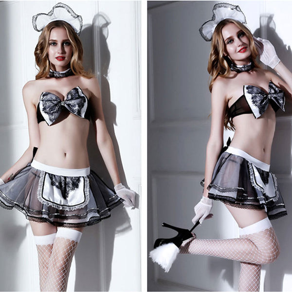 Sexy Maid Lingerie For Women Uniform Temptation Short Skirt Classical Bow Lace Maid Clothes Cosplay Lingerie