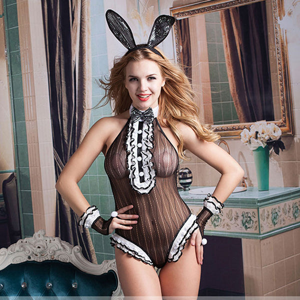 Bunny Girl Cosplay Black Teddy Lingerie For Women Uniform Neck Bow Nightclub Costume Conjoined Lingerie