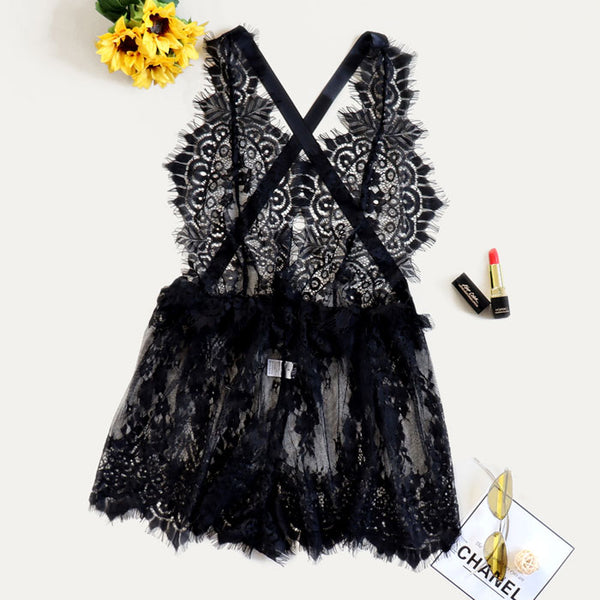 Sexy Backless Pajamas Teen Nightdress Lace Bow See-through Dress Hot Intimate Lingerie