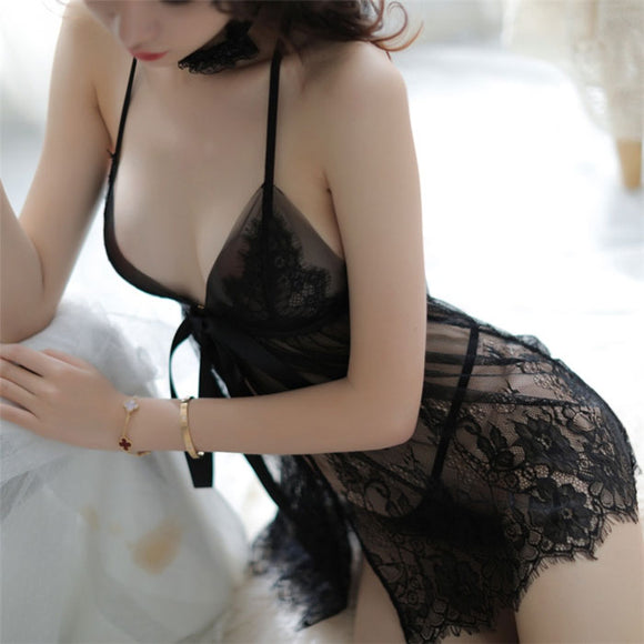 Sexy Slit Bow Perspective Mesh Nightdress Sling Lace Pajamas Women's Lingerie