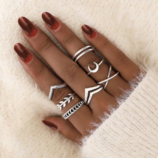 Unique Trendy Retro Leaf 7-piece Set Combination Ring Personalized Moon Cross Little Finger Ring