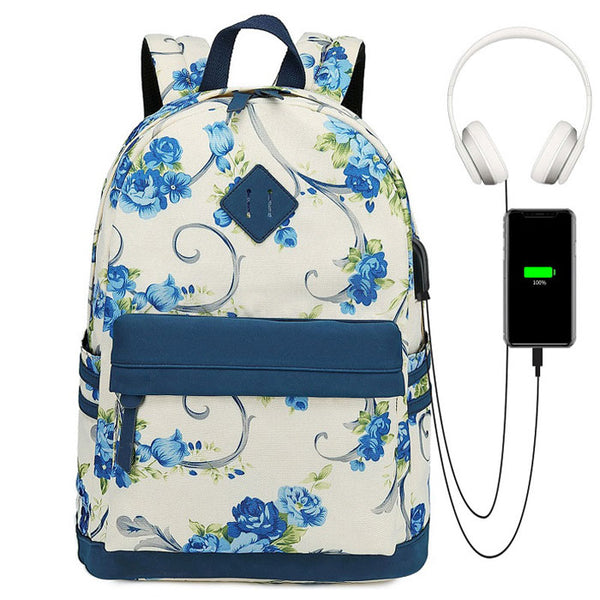 Sweet Flower Vine Rose Trunk Oxford Campus Student School Bag Backpack