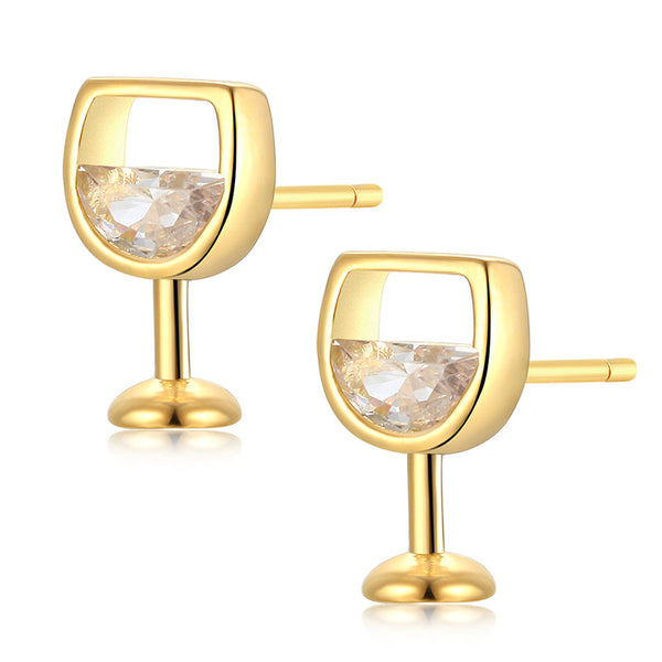 Unique Red Wine Glass Cup Crystal Alloy Shaped Earrings Studs