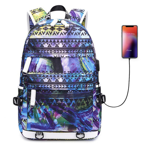 Unique Teen Unique Colorful Irregular Shape Large Capacity Waterproof Young Student Backpack