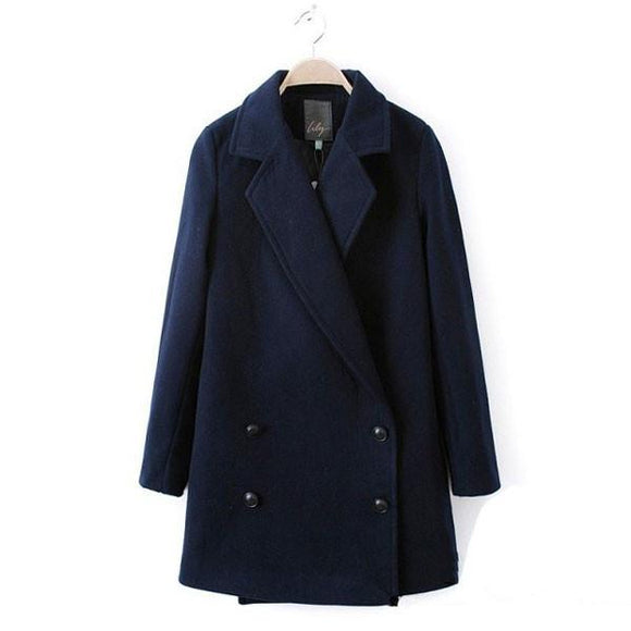 Fashion Double Breasted Lapel Classic Long Wool Coat - lilyby