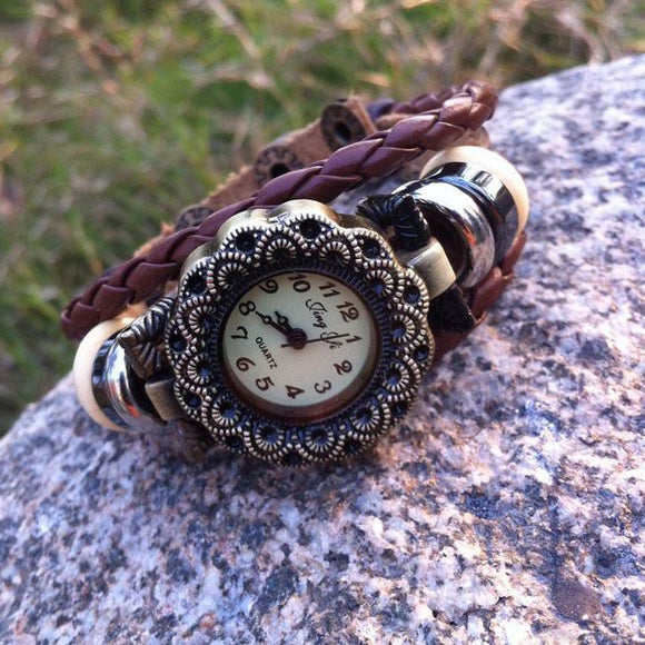 Retro Bead Leather New Flower Bracelet Watch - lilyby