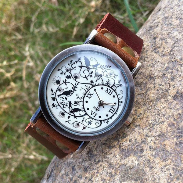 Flower Vine Bird Retro Cowhide Leather Girl  Watch - lilyby