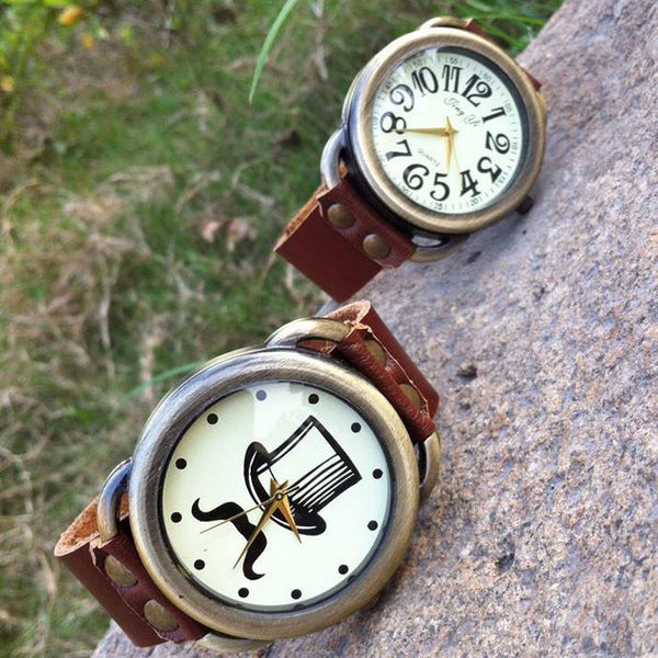 Vintage Beard print Leather Watch For Big Sale!- Fowish.com