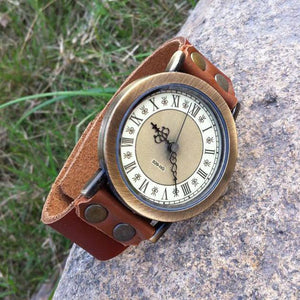 Cinnamon Retro Handmade Cowhide Leaather Roman Numerals Man Watch - lilyby