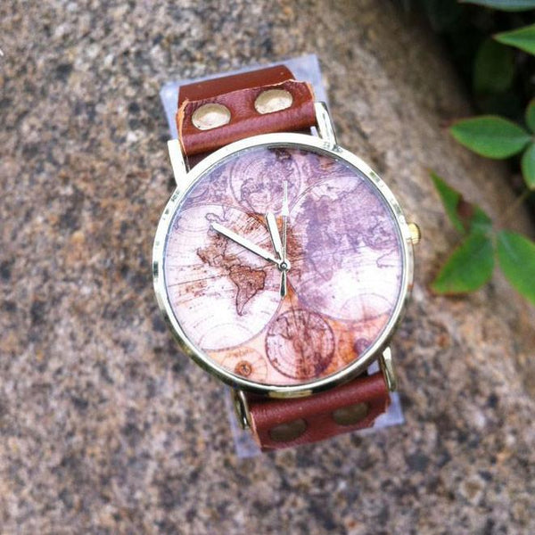 Retro Handmade World Map Leather Watch - lilyby